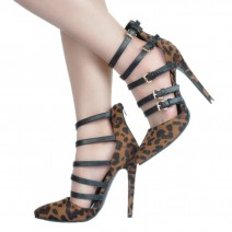 Black Leopard Print Point Head Strappy Stiletto High Heels Shoes