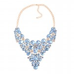 Blue Colorful Fancy Crystals Gemstones Glamorous Flowers Floral Necklace
