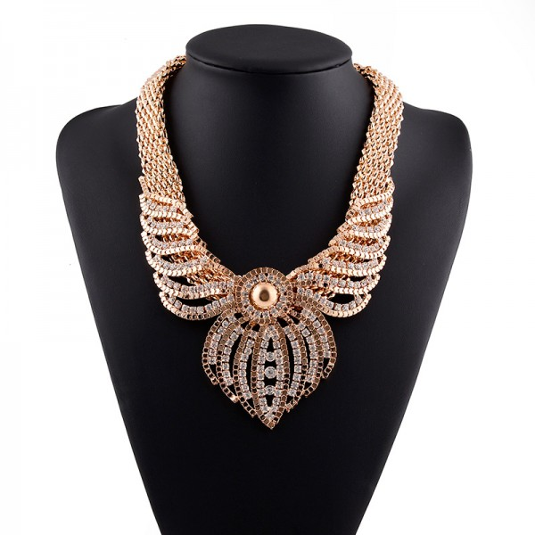 Gold Diamante Fancy Crystals Gemstones Glamorous Chain Necklace
