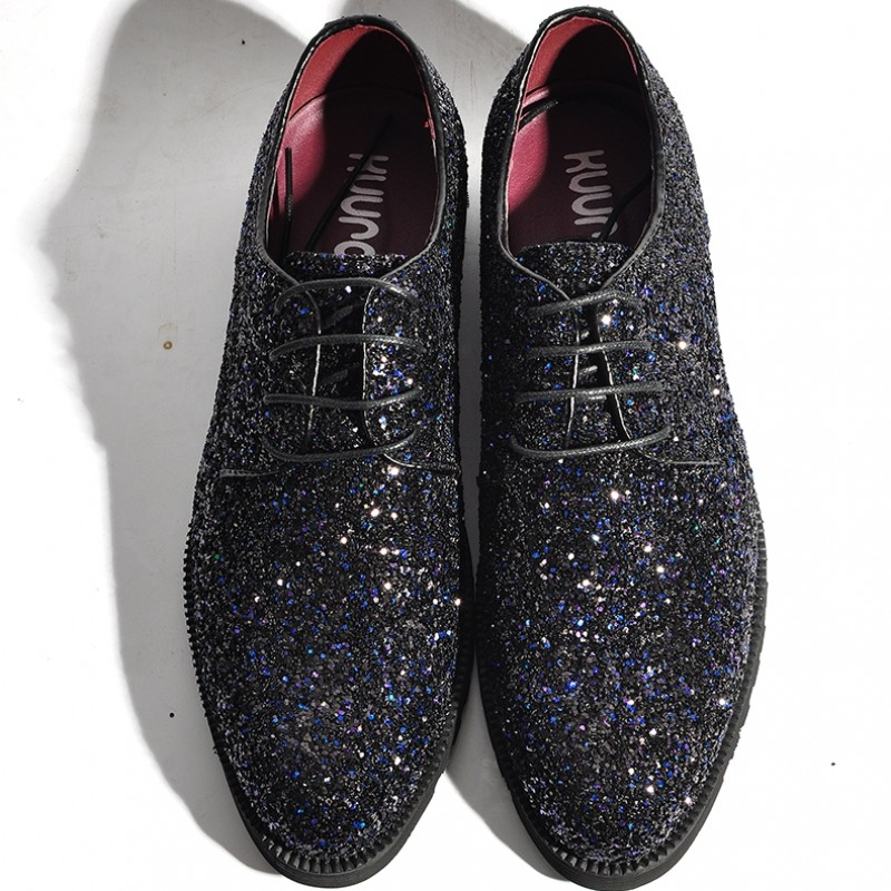 Black Glitter Sparkle Bling Bling Lace Up Oxfords Mens