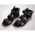 Black Leather Straps High Top Mens Gladiator Roman Platforms Sandals Shoes