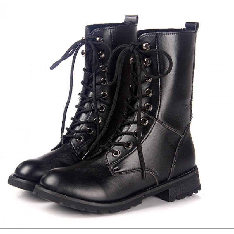 prevalent shopping largest selection of 2019 Black Lace Up High Top Military Combat Boots