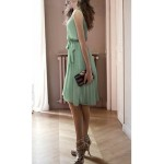 Green Brown Vintage Sleeveless Elegant Pleated A Line Chiffon Dress