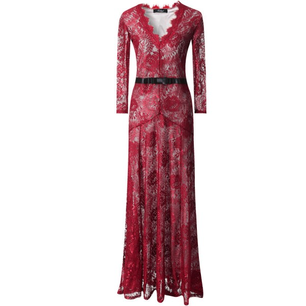 Burgundy Sexy Lace Long Sleeves Goddess Cocktail Bridal Mermaid Tail Maxi Dress Gown
