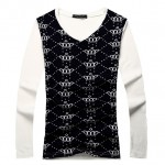 Grey Black White Crowns Punk Rock V Neck Long Sleeves Knit Mens Sweater