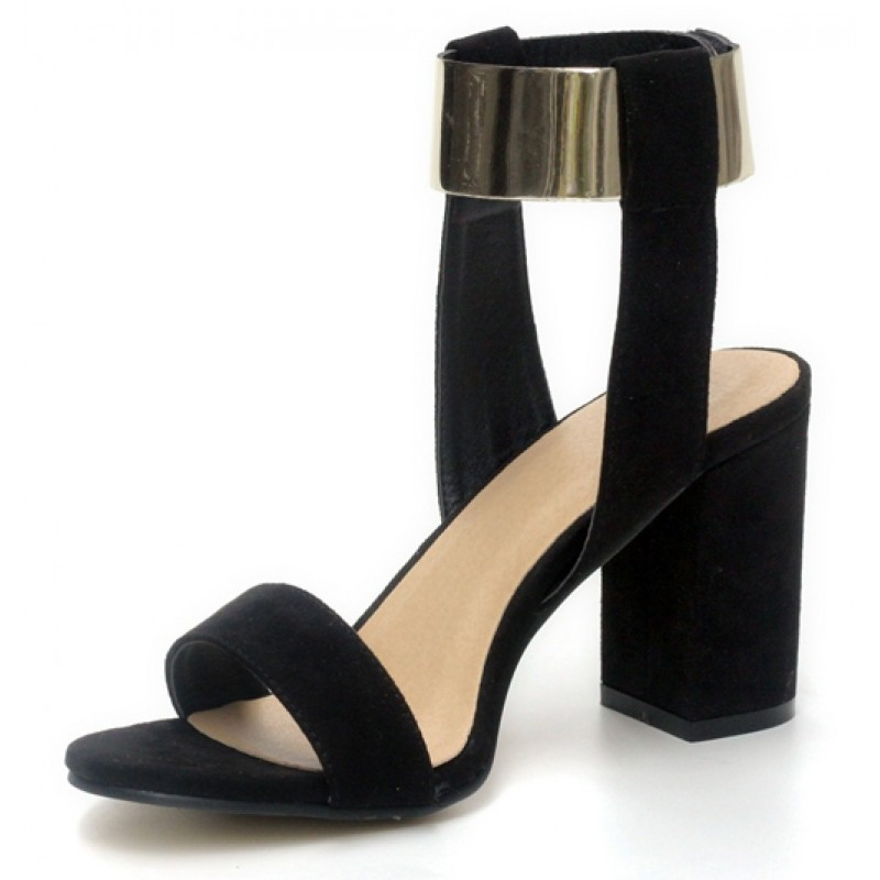 cf59dedc675 Black Suede Gold Ankle Straps Block Heels Pump Gladiator Sandals Shoes