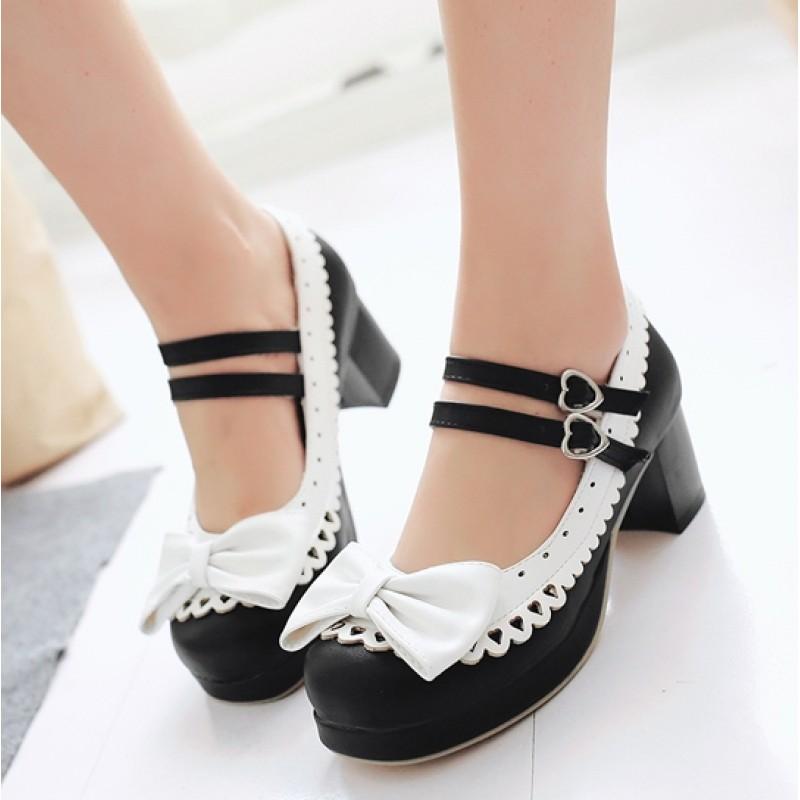 Black White Bow Lace Trim Double Straps