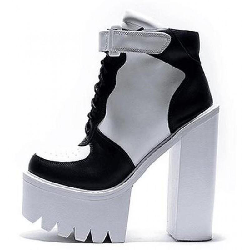 Boots White Sneakers High Platforms Sole Heels Block Chunky Black jcRq534AL