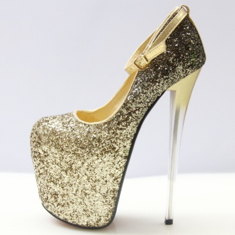 46bc0cb1329 Gold Glitter Bling Bling Platforms Stiletto Wine Glass Super High Heels  Shoes