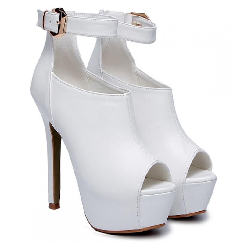 White Peeptoe Ankle Strap Platforms