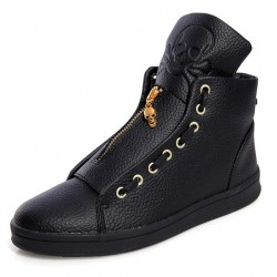 Black Gold Skull Zipper Back Tassels High Top Mens Sneakers Shoes Boots