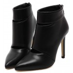 Black Leather Point Head Ankle Stiletto High Heels Boots Shoes