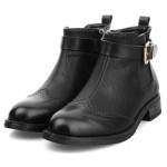 Black Metal Buckle Ankle Chelsea Heels Boots Shoes