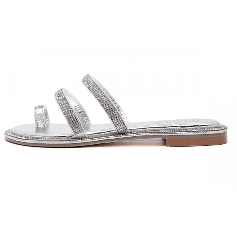 b0e560eaa8b34 Silver Diamante Crystals Embellished Straps Thumb Fancy Flip Flop Sandals  Shoes