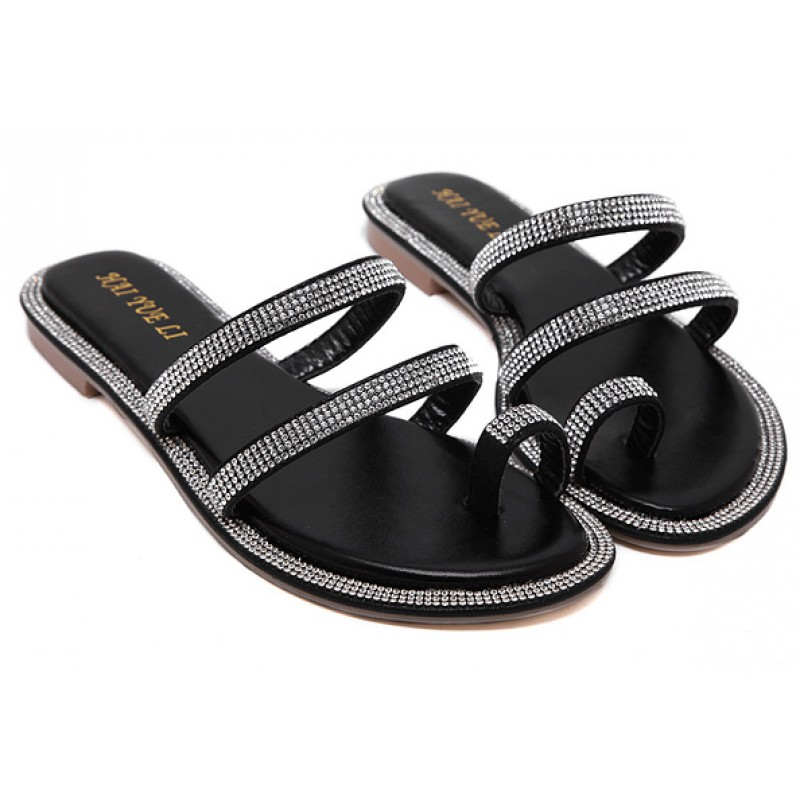 349e545352ed6 Black Diamante Crystals Embellished Straps Thumb Fancy Flip Flop Sandals  Shoes