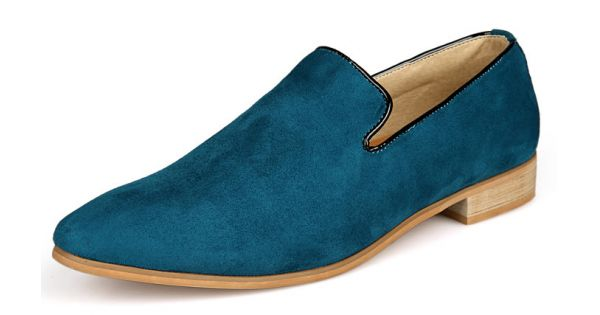 b29f501dcfc Blue Teal Suede Mens Oxfords Flats Loafers Dress Shoes