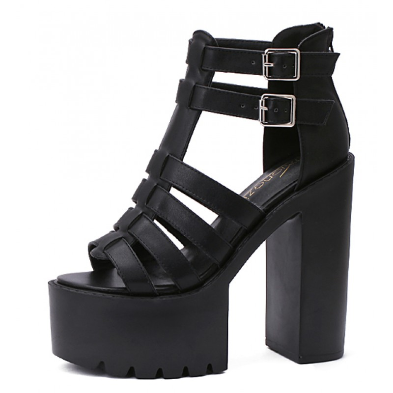 f072581c53f Black T Strap Block Chunky Sole High Heels Gladiator Platforms Sandals Shoes