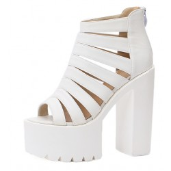 White Strap Block Chunky Sole High Heels Gladiator Platforms Sandals Shoes