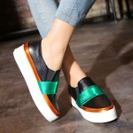 Black Green Gold Platforms Sole Hidden Wedges Womens Sneakers Loafers Flats Shoes
