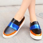 Black Blue Gold Platforms Sole Hidden Wedges Womens Sneakers Loafers Flats Shoes