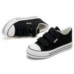 Black Canvas Platforms Velcro Casual Sneakers Flats Loafers Shoes