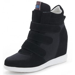 Black Suede Velcro Platforms Sole High Top Hidden Wedges Womens Sneakers Loafers Shoes