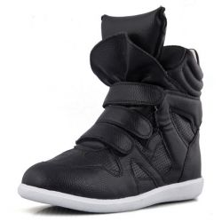 Black White High Top Velcro Tapes Hidden Wedges Sneakers Shoes