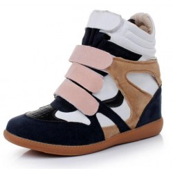 Blue Pink Suede High Top Velcro Tapes Hidden Wedges Sneakers Shoes