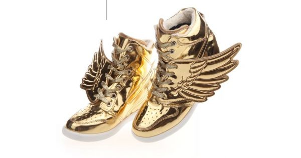 Gold Metallic Shiny Angel Wings Hidden Wedges High Top Womens Sneakers Shoes 66a8bfb2199c