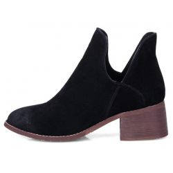 Black Suede Vintage Grunge Point Head Ankle Chelsea Boots Shoes