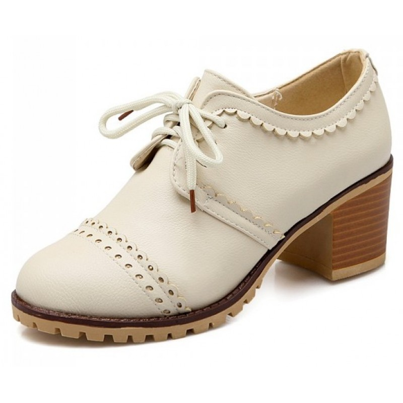 Cream White Vintage Lace Up High Heels