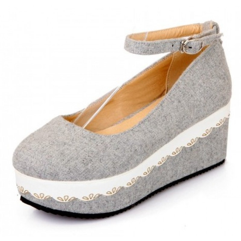 Grey Platforms Wedges Mary Jane Lolita