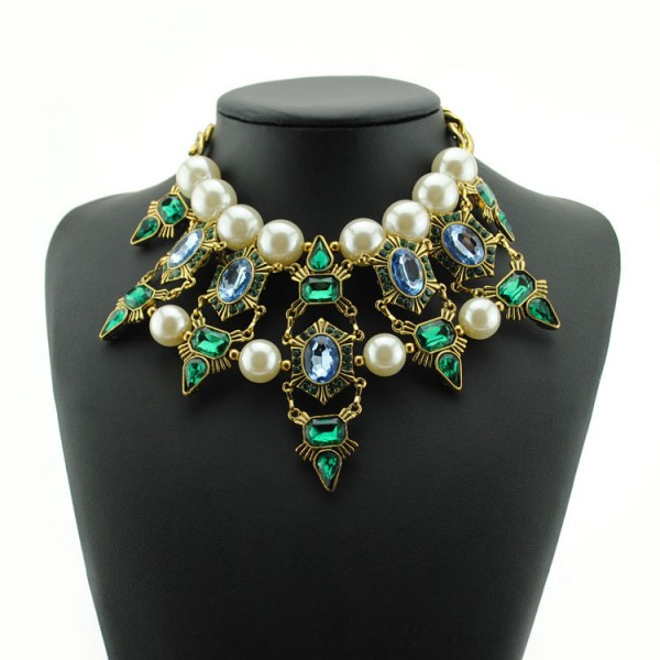 Green Crystals White Pearls Tribal Bohemian Ethnic Necklace Choker