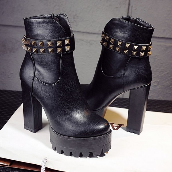 Black Leather Platforms Studs High Top Block Heels Combats Military Boots Shoes