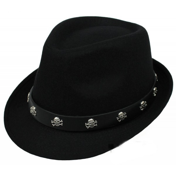Black Skulls Punk Rock Woolen Funky Gothic Jazz Dance Dress Bowler Hat