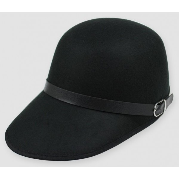 Black Woolen Horse Riding Rider Polo Cap Hat
