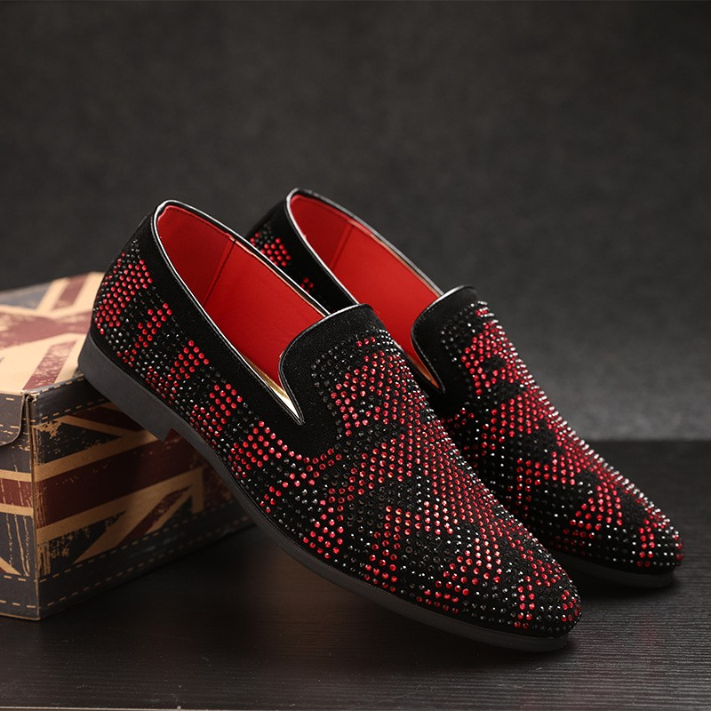 Black Red Diamantes Patterned Loafers