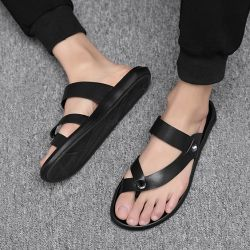 f29ae75fdc7 Black Strappy Thumb Slip On Mens Gladiator Roman Sandals Flip Flop