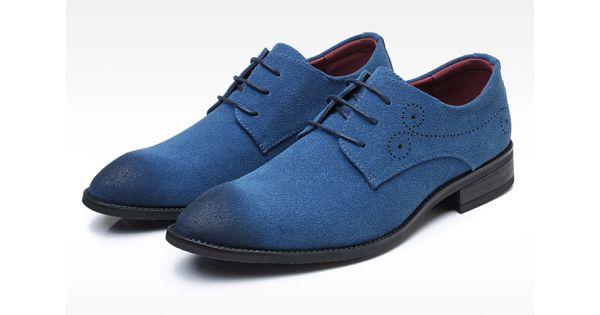 Blue Suede Wingtip Lace Up Mens Oxfords