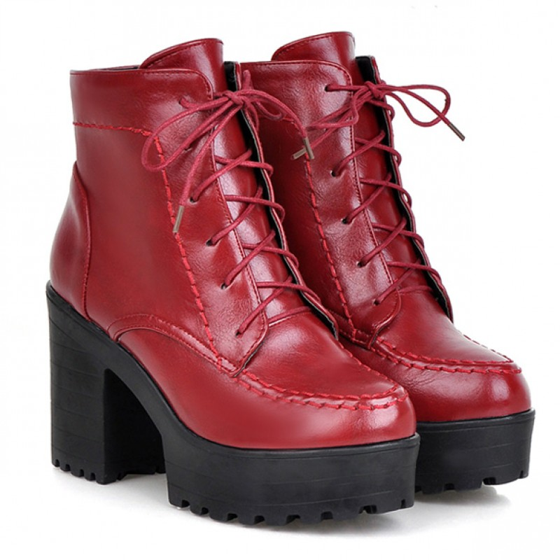 Red High Top Lace Up Platforms Punk