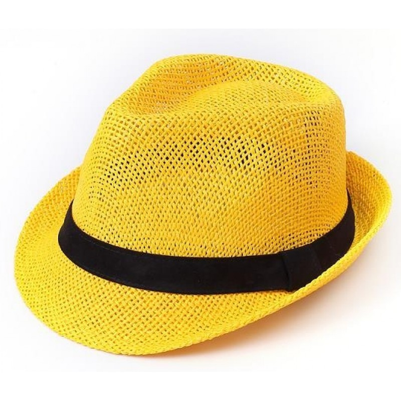 Yellow Straw Woven Jazz Bowler Hat a57461952c7