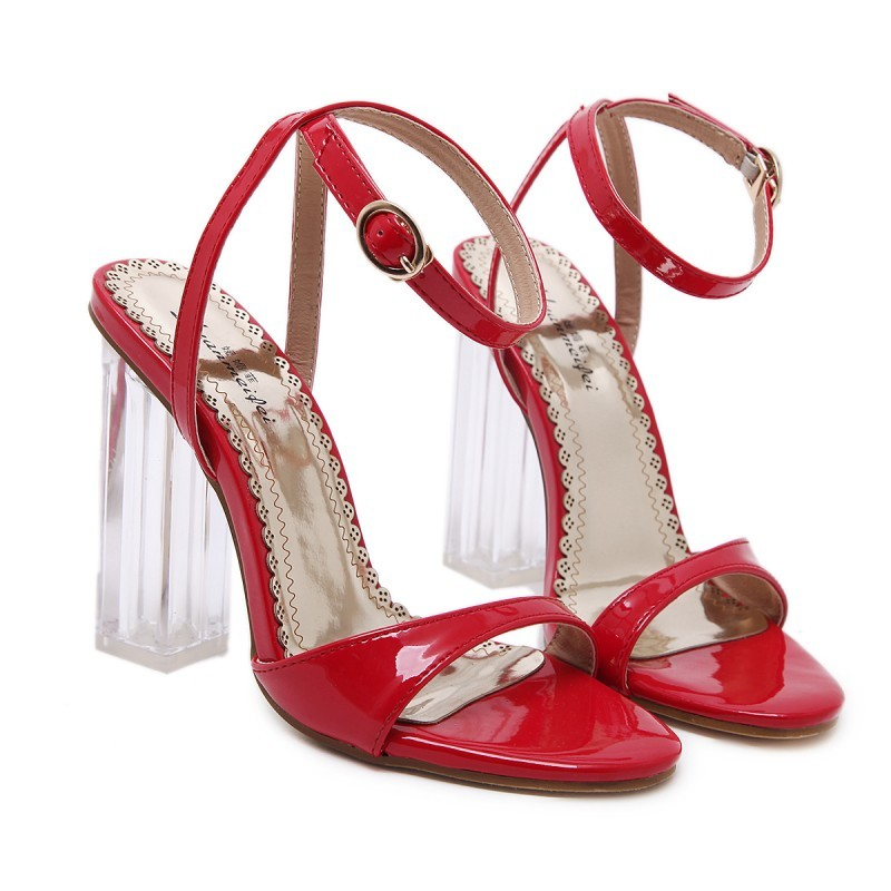 3ac22fc1cb4 Red Patent Straps Evening Transparent Glass Block High Heels Sandals Shoes