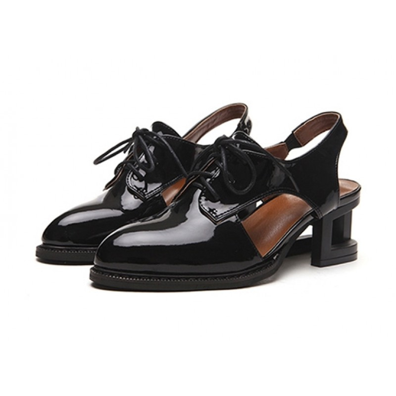 Black Cream Patent Leather Hollow Out