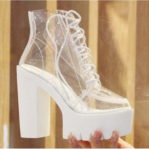 White Transparent Lace Up Chunky Sole Block High Heels Platforms Boots Shoes