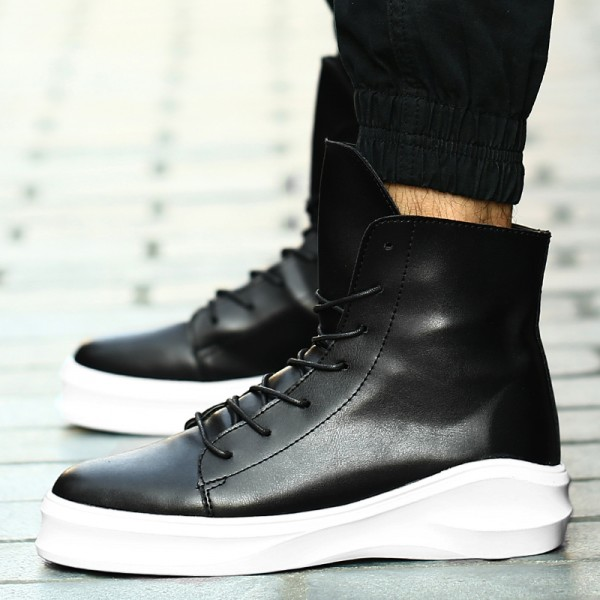 Black White Lace Up Thick Sole High Top