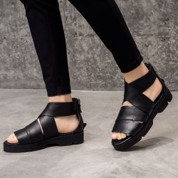 ed77e881ef3 Black Cross Ankle Strap Thick Sole Fashion Mens Gladiator Roman Sandals