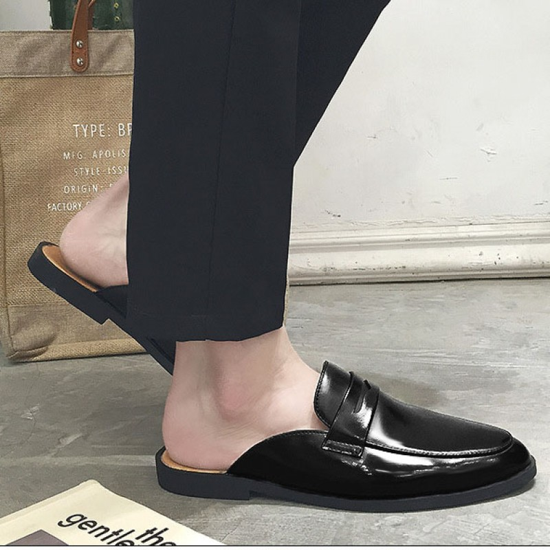 picked up large discount preview of Black Leather Mens Formal Slip On Flats Sandals Loafers Shoes