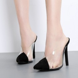 Black Suede Transparent Pointed Head Stiletto High Heels Sandals Shoes
