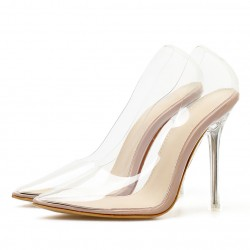 Transparent Pointed Head Stiletto Glass High Heels Sandals Shoes