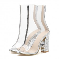 Transparent Silver PU Peep Toe Block High Heels Boots Shoes